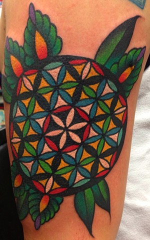 Geometric Flower Tattoo by Greg Christian