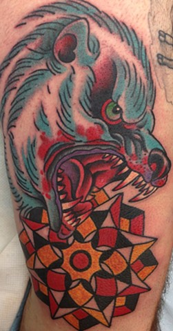 Polar Bear and Geometric design Tattoo by Greg Christian