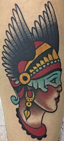Winged Girl Head Tattoo by Greg Christian