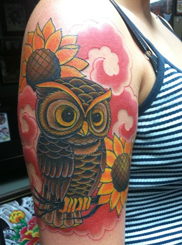 Owl & Sunflower Tattoo by Mike Hutton