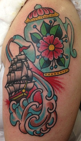 Ship & Tea pot Tattoo by Greg Christian