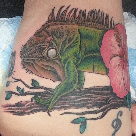 Iguana Tattoo by Mike Hutton
