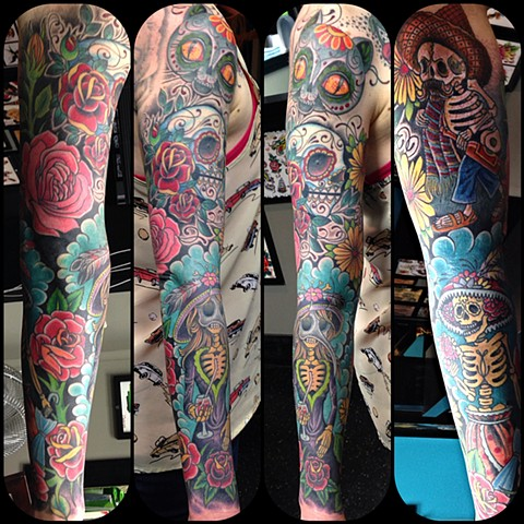 Day of the Dead Sleeve Tattoo by Dan Wulff