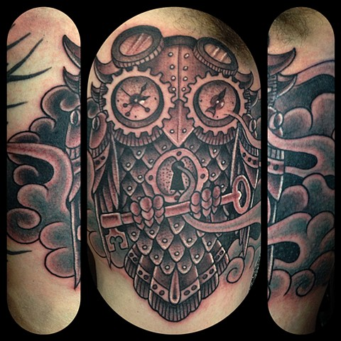 Steampunk Owl Tattoo by Dan Wulff