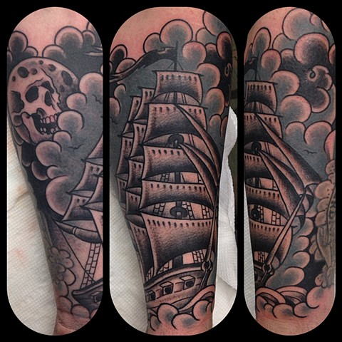 Clipper Ship Tattoo by Dan Wulff