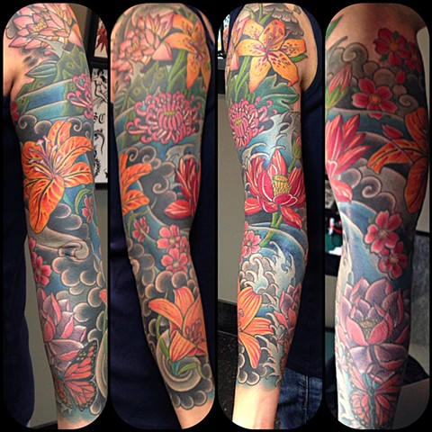 Floral Sleeve Tattoo by Dan Wulff
