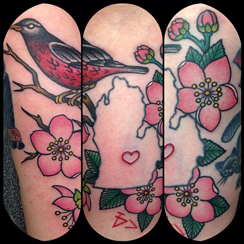 Bird & Flower Tattoo by Dan Wulff