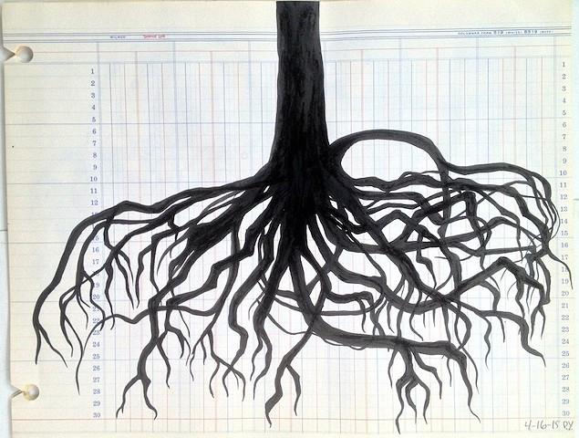 Ink drawings on found vintage ledger paper
