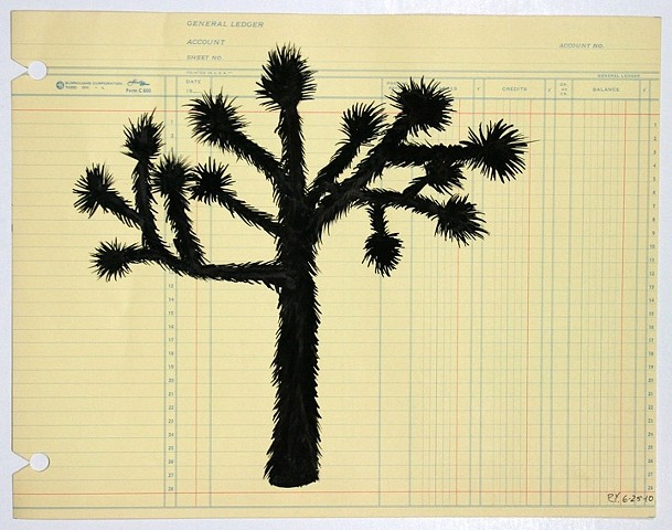 Joshua Tree Ledger Found Paper Ink on Paper Drawing