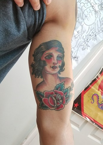 American Traditional Lady Head and Rose Color Tattoo By Ian Manley Washington, DC