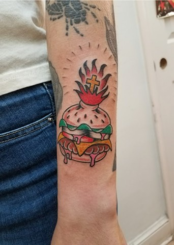 Custom Traditional Sacred Cheese Burger Sacred Heart Color Tattoo By Ian Manley Washington DC