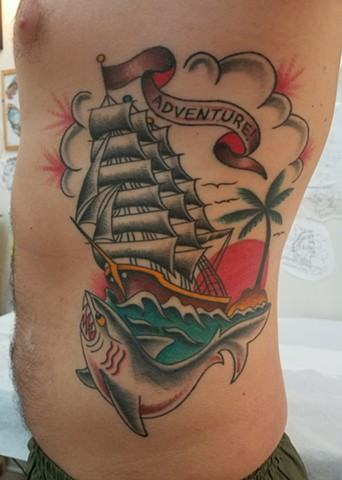 Custom Traditional Color Tattoo Shark Sailor's Grave Adventure Clipper Ship Tattoo by Ian Manley DC