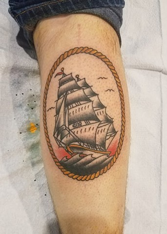 American Traditional Sailor Jerry Clipper Ship Tattoo By Ian Manley Washington, DC