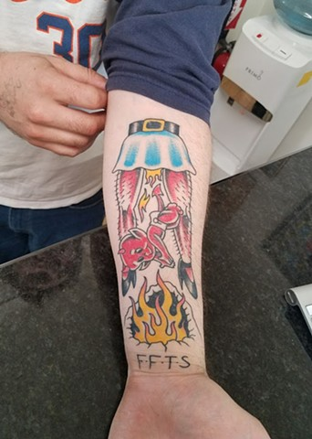 Custom Traditional Color Lil Hot Stuff Born To Die Fucked From The Start Tattoo By Ian Manley Washington DC