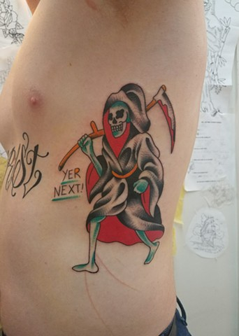 Custom Traditional Color Grim Reaper Your Next Tattoo By Ian Manley Washington, DC