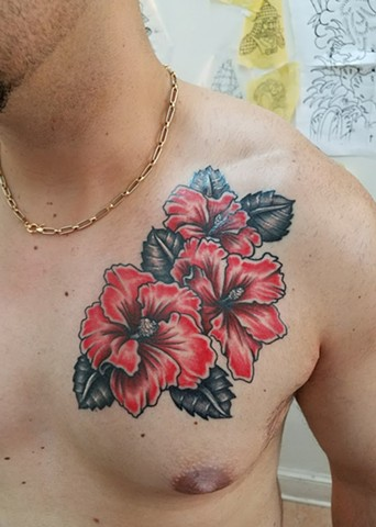 Custom Color Hibiscus Flower Chest Piece Tattoo By Ian Manley Washington, DC
