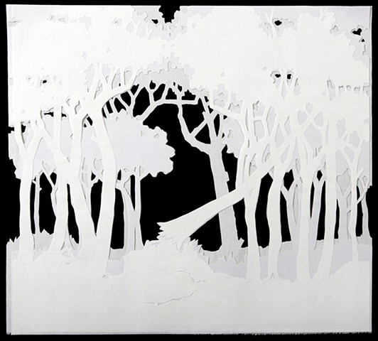 Achromatic muslin and vellum landscape based off of toile imagery by Shara Rowley Plough.