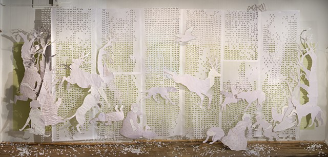 Vellum and tissue paper installation with toile pastorial imagery by Shara Rowley Plough.