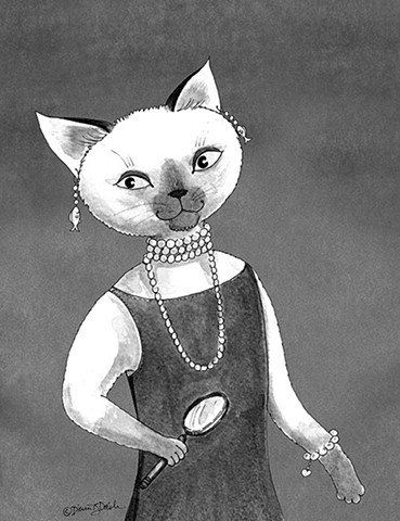 Audrey Hepcat, feline sleuth illustration in black  line and shades of gray wash