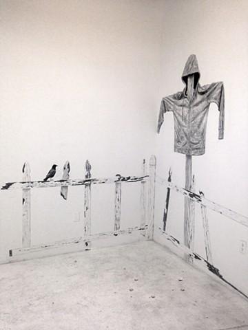 Graphite Installation in the Spoke Gallery at Medicine Wheel (South Boston, MA)