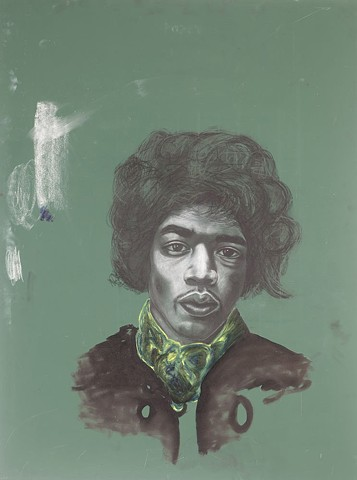 Jimi Hendrix drawing on chalkboard.