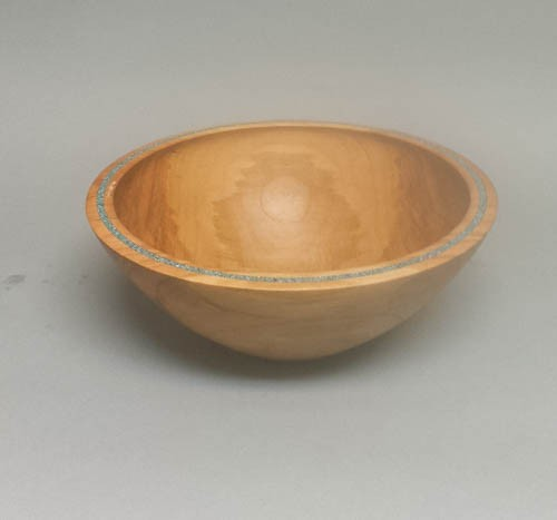 Cherry Bowl With Turquoise Inlay