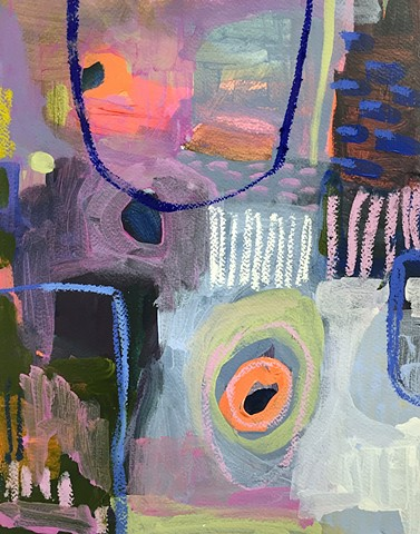 Composition 8 (Violet and Bright Orange with Ultramarine Arch)
