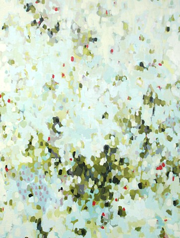 abstract painting of abstract garden scene greens by Erin McIntosh