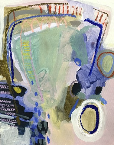 Composition 5 (Ultramarine Blue Line with Navy and Petal Pink)