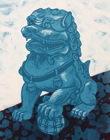 Foo dog, monotype, fu dog