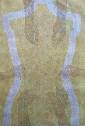 One-of-a-kind collagraph print, yellow torso with brown hands