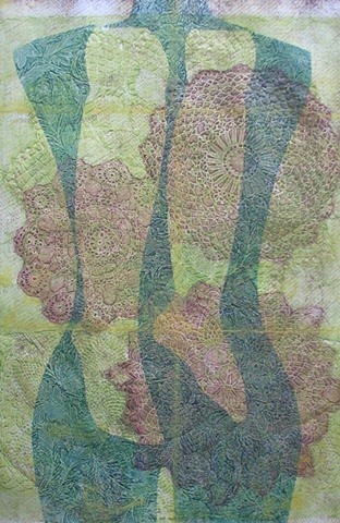 one-of-a-kind collagraph print, torso with legs, green and yellow doilies
