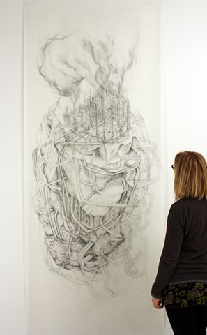 Large-scale, Landscape, environmental, graphite drawing about oil refining, pipelines and mark-making by Kathleen Thum