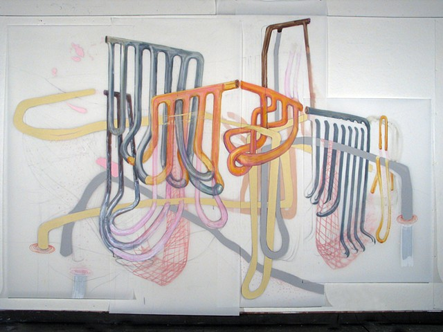 Installation drawing of biomorphic body and mechanical systems by Kathleen Thum