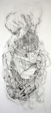 Large-scale Drawing on Mylar of Environmental  Landscape, oil refining and pipelines by Kathleen Thum