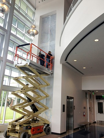 in progress Site Specific Wall drawing, painting, mural at Broward College by Kathleen Thum