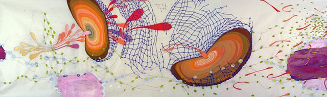 abstract scroll drawing of body systems by Kathleen Thum