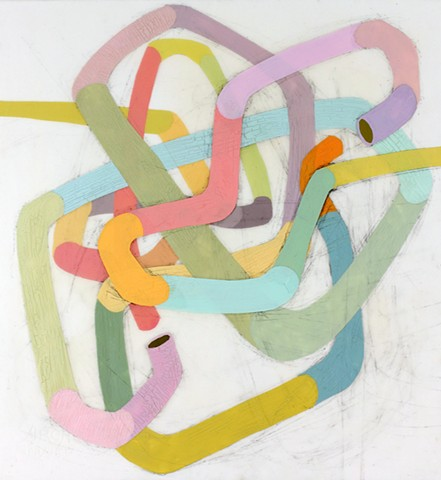 Abstract Acrylic Painting of tubes, pipelines, cables by Kathleen Thum