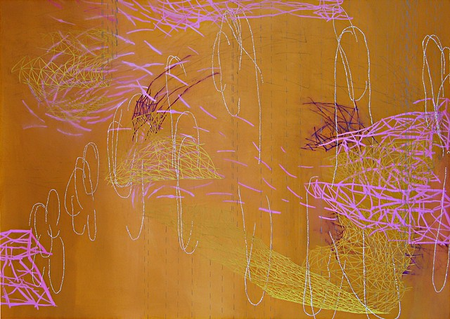 Abstract painting of swarming systems by Kathleen Thum