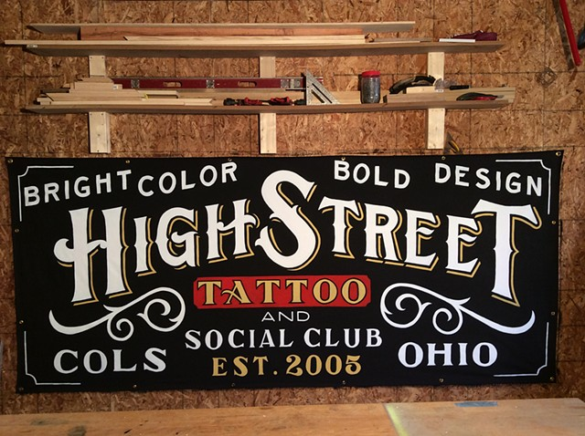 Banner, Tattoo, Handpainted, Sign, Handlettering, Clint Davidson, Columbus, Ohio, Typography, Handtype
