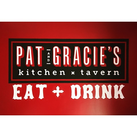 Hand painted branding for Pat and Gracies Restaurant Columbus Ohio.