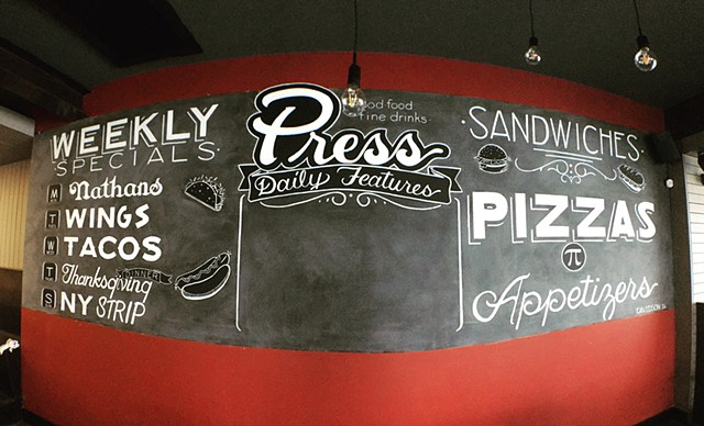 Painting, Mural, Press Grill, Columbus, Ohio, Chalkboard, Typography, Handlettering, Clintdavidson, artist, Muralist