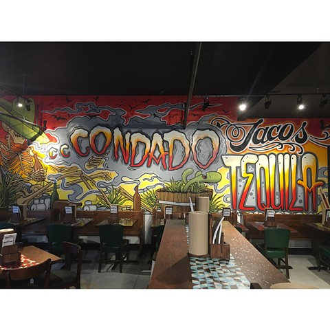 Mural painted at Condado downtown Columbus with Scott Santee.