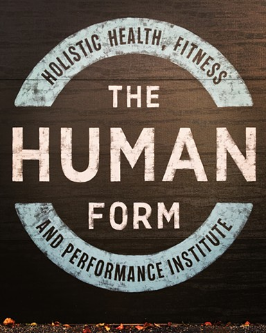 Hand painted logotype for The Human Form Fitness Institute Columbus Ohio.