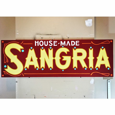 Hand painted Sangria sign for Standard Hall Columbus Ohio
