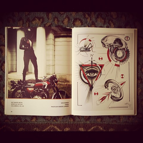 ITW book~ a book of motorcycle inspired flash by tattoo artists that ride.