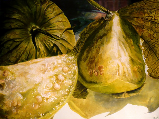Tomatillos, Still Life, Kiwi Painting, Green Fruit, Realism, Acrylic Painting, Fruit Painting