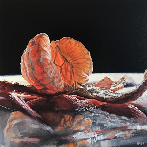 mandarin, orange, painting, still life, fruit, hyper-realism