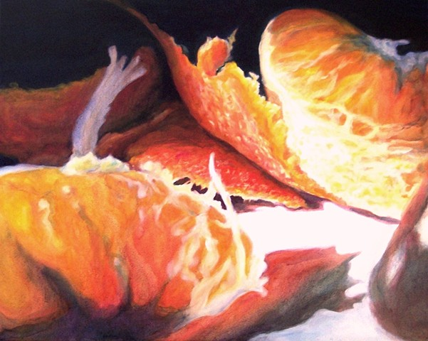 Tangerines, Still Life, Fruit Painting, Realism, Photo Realism, Oil Painting