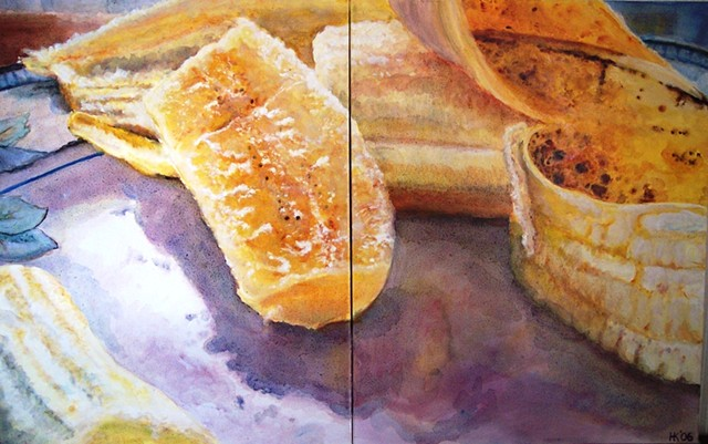 Bananas, Still Life, Banana Painting, Oil Painting, Realism, Watercolor